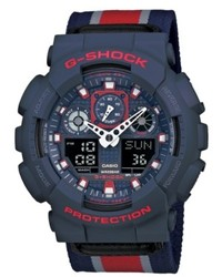 G shock watch analog digital red striped navy cloth strap 51x55mm ga100mc 2a medium 265480