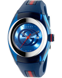 Sync unisex swiss blue and red rubber strap watch 36mm ya137304 medium 309040