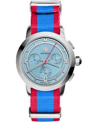 Watches tory chronograph fabric strap watch bluered medium 309041
