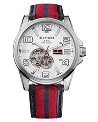 Red and Navy Leather Watch
