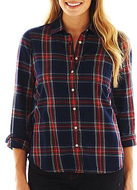 jcpenney Jcp Brushed Twill Flannel Plaid Long Sleeve Shirt | Where ...