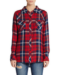 Kendra plaid contrast cuff blouse medium 346115