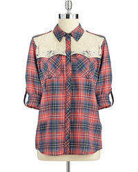 GUESS Plaid Military Shirt With Lace Accents