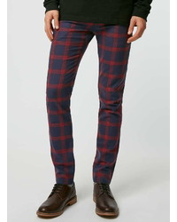 Red and Navy Plaid Chinos
