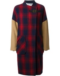 Band of outsiders panelled checked coat medium 141681