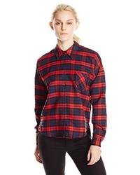 Blu Pepper Plaid Woven Pocket Shirt