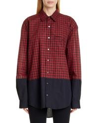Vetements Contrast Hem Checked Oversized Shirt