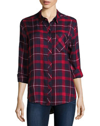 Arizona Long Sleeve Boyfriend Plaid Shirt Juniors