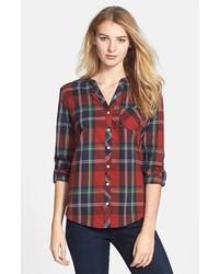 Olive & Oak Collarless Plaid Shirt