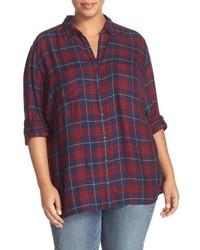 Plus Size Caslon Long Sleeve Plaid Shirt