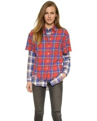 R13 double layer plaid shirt medium 228459