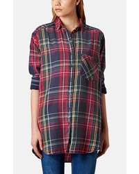 Topshop Oversized Plaid Cotton Shirt Red Multi 12