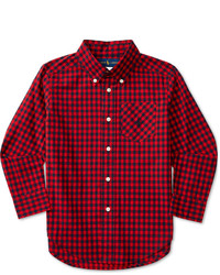 Red and Navy Plaid Long Sleeve Shirt