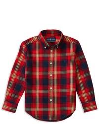 Ralph Lauren Childrenswear Boys Plaid Twill Shirt Sizes 4 7
