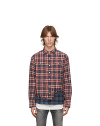 R13 Red And Blue Tattered Hem Shirt