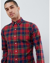 eae0769f Polo Ralph Lauren Slim Fit Tartan Check Oxford Shirt Player Logo In Red