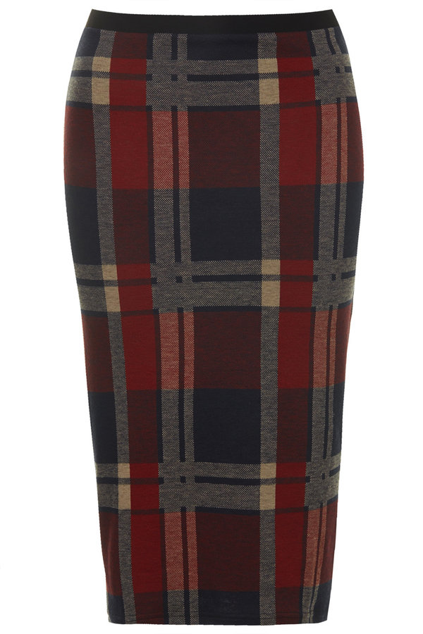 6c426993a8 Topshop Blanket Check Tube Skirt, $45 | Topshop | Lookastic.com