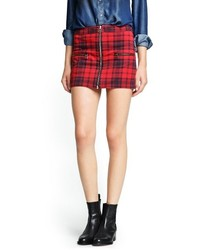 Red and Navy Plaid Mini Skirt