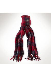 Red and Navy Plaid Scarf