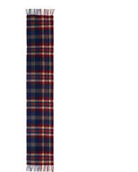 Cashmere plaid scarf w fringe redbluecamelgray medium 375631