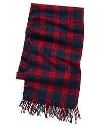 fc52508f4 Red and Navy Plaid Scarves for Men | Men's Fashion | Lookastic.com