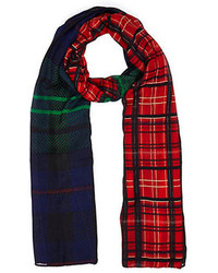 River Island Red And Navy Two Tone Plaid Scarf