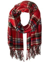 Red and Navy Plaid Shawl