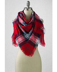 Landsend oversized plaid square scarf rich red plaid3t medium 384056