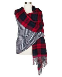 Oversized Reversible Plaid Blanket Wrap Scarf Blue And Red