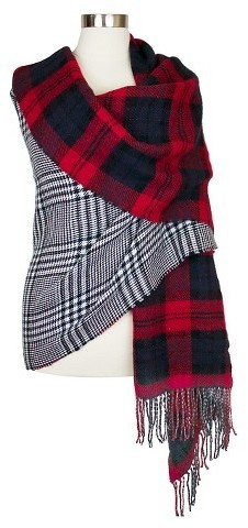 adbed928cd4 $29, Oversized Reversible Plaid Blanket Wrap Scarf Blue And Red