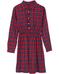 Red and Navy Plaid Shirtdress