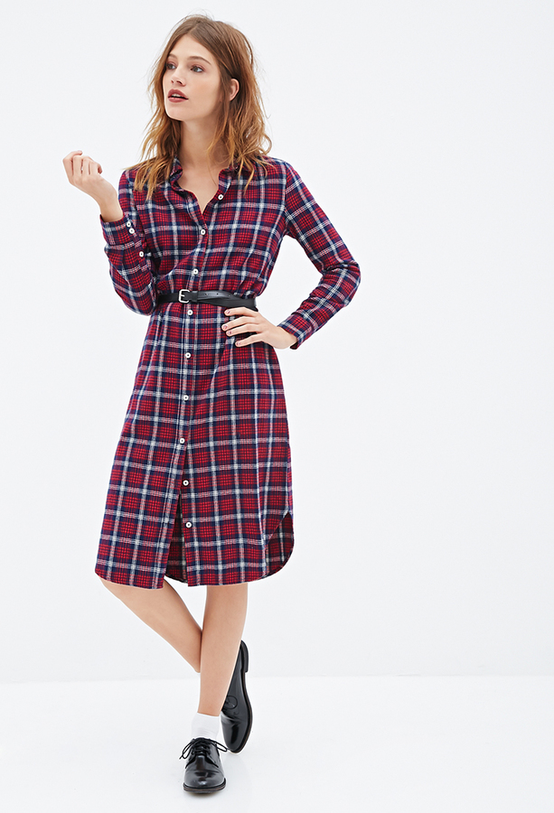 cb9d80f0863 Forever 21 Plaid Flannel Shirt Dress