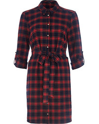 River Island Red Check Print Shirt Dress