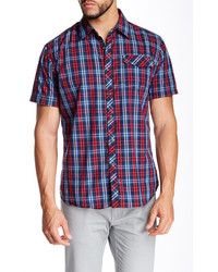 Red and Navy Plaid Short Sleeve Shirt