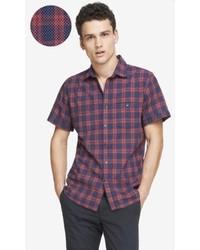 Express Plaid Dot Short Sleeve Shirt