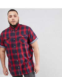 Duke King Size Short Sleeve Shirt In Red Check With Pockets