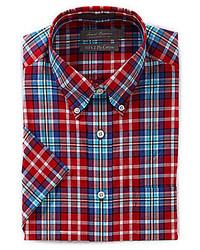 Daniel Cremieux Signature Short Sleeve Medium Plaid Woven Shirt