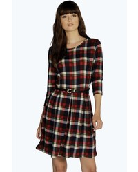 Boohoo monique check brushed knit skater dress medium 363490