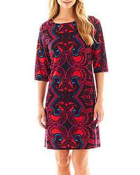 34 sleeve print shift dress medium 128068