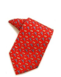 Red and Navy Print Tie