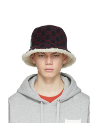 Gucci Navy And Red Wool Gg Bucket Hat