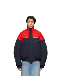 Balenciaga Navy And Red Ski Bomber Jacket