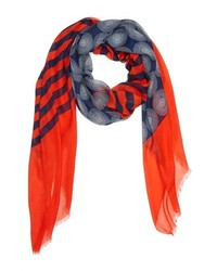 Red and Navy Vertical Striped Scarf