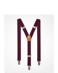 Express Striped Suspenders Red