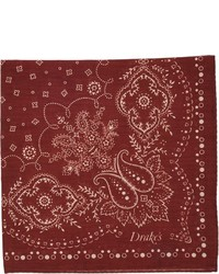 Drakes Drakes Paisley Bandana Pocket Square Red
