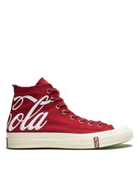 Red and White Canvas High Top Sneakers