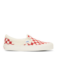 Vans Red And White Og Checkerboard Classic Slip On Sneakers