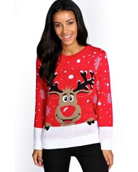 Red and White Fair Isle Crew-neck Sweater