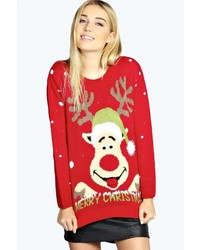 Boohoo emmy googly eyes rudolph christmas jumper medium 123805
