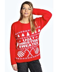 Boohoo louise ugly christmas sweater xmas jumper medium 123804